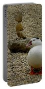 Duck With Rock Sculpture Portable Battery Charger