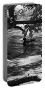 Ducks In The Shade In Black And White Portable Battery Charger