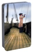 Eighteenth Century Man With Spyglass On Ship Portable Battery Charger