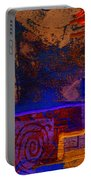 Electric Blue Patterns Portable Battery Charger