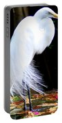 Elegant Egret At Water's Edge Portable Battery Charger