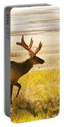 Elk Wanders On Yellow Landscape Portable Battery Charger