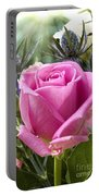English Pink Rose Close Up Portable Battery Charger
