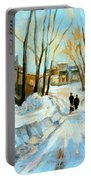 Evening Winter Walk Streets Of Montreal After The Snowstorm Portable Battery Charger