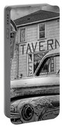 Expired A Black And White Photograph Of A Tavern Parking Meters And Vintage Junk Auto Portable Battery Charger