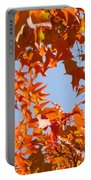 Fall Leaves Art Prints Autumn Red Orange Leaves Blue Sky Portable Battery Charger