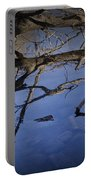 Fallen Tree Trunk With Reflections On The Muskegon Rive Portable Battery Charger