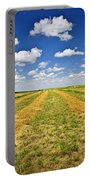 Farm Field At Harvest In Saskatchewan Portable Battery Charger