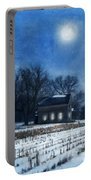 Farmhouse Under Full Moon In Winter Portable Battery Charger
