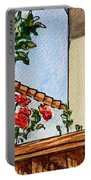 Fence And Roses Sketchbook Project Down My Street Portable Battery Charger by Irina Sztukowski