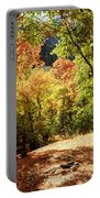 Fenced Path Through Autumn Forest - Blacksmith Fork Canyon - Utah Portable Battery Charger