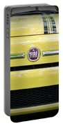 Fiat 500 Yellow With Racing Stripe Portable Battery Charger