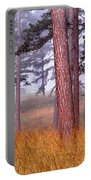 Field Pines And Fog In Shannon County Missouri Portable Battery Charger