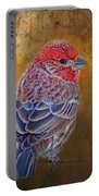 Finch With Gold Texture Portable Battery Charger