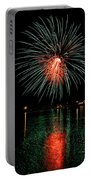 Fireworks Of Green And Red Portable Battery Charger