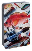 Fish Bookplates And Tackle Portable Battery Charger