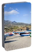 Fishing Boats On A Beach In Spain Portable Battery Charger