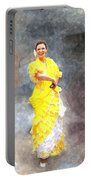 Flamenco Dancer In Yellow Portable Battery Charger