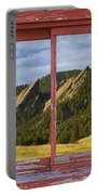 Flatirons Boulder Colorado Red Barn Picture Window Frame Photos  Portable Battery Charger