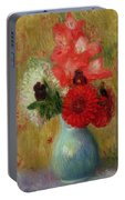 Floral Arrangement In Green Vase Portable Battery Charger
