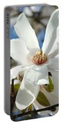 Floral Art Prints White Magnolia Flowers Portable Battery Charger