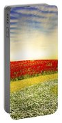 Floral Field On Sunset Portable Battery Charger by Setsiri Silapasuwanchai