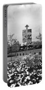 Flowers At Citi Field In Black And White Portable Battery Charger by Rob Hans