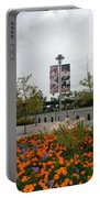 Flowers At Citi Field Portable Battery Charger by Rob Hans
