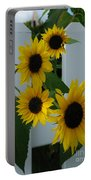 Flowers On A Fence Portable Battery Charger
