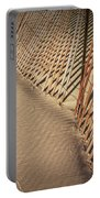 Footprints On The Beach Along A Fence Portable Battery Charger