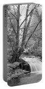 Forest Creek Waterfall In Black And White Portable Battery Charger