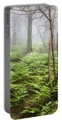 Forest Ferns On A Foggy Morning Portable Battery Charger