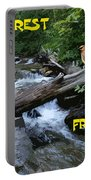 Forest Friends Sharing A Log Over A Creek On Mt Spokane Portable Battery Charger