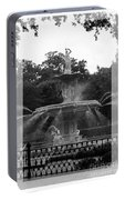 Forsyth Park Fountain - Black And White Portable Battery Charger