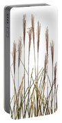 Fountain Grass In White Portable Battery Charger by Steve Gadomski