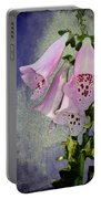 Fox Glove Blue Grunge Portable Battery Charger by Bill Cannon