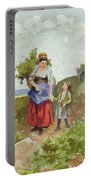 French Peasants On A Path Portable Battery Charger by Daniel Ridgway Knight