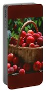 Fresh Red Plums In The Basket Portable Battery Charger