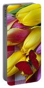 Fresh Tulips And Red Butterfly Portable Battery Charger by Garry Gay