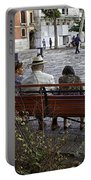 Friends On Park Bench Portable Battery Charger
