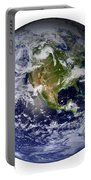 Full Earth Showing North America White Portable Battery Charger