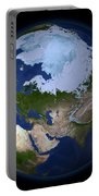 Full Earth Showing The Arctic Region Portable Battery Charger by Stocktrek Images