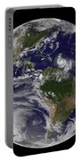 Full Earth Showing Two Tropical Storms Portable Battery Charger
