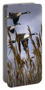 Geese Coming In For A Landing Portable Battery Charger