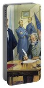 General Ulysses Grant Accepting The Surrender Of General Lee At Appomattox  Portable Battery Charger by Severino Baraldi