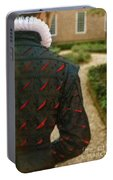 Gentleman In 16th Century Clothing On Garden Path Portable Battery Charger