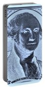 George Washington In Negative Cyan Portable Battery Charger