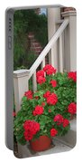 Geraniums On The Steps Portable Battery Charger