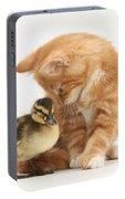 Ginger Kitten And Mallard Duckling Portable Battery Charger
