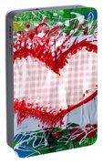 Gingham Crazy Heart Portable Battery Charger